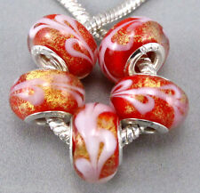 5pcs Lots Murano Glass Beads Gold foil For European Charm Bracelet Necklace DIY