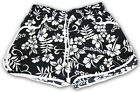 BLACK LADIES FLORAL FLOWER PRINT HOT PANTS SWIM BEACH BOARD SUMMER SHORTS UK