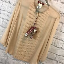 Max Mara Studio Silk Blouse Pleated Wheat Beige Sheer Button Front 3/4 Sleeve