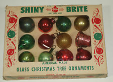 Vintage Shiny Brite & More Glass Ornaments FEATHER TREE Multi Solids Set of 12