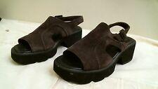 HUSH PUPPIES heels size 6  M BROWN leather SANDALS Casual Career