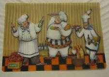 """Set of 4 same RARE FAT CHEF KITCHEN 3D VINYL SEMI CLEAR PLACEMATS 12"""" x 18"""""""