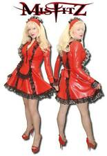 Misfitz red rubber latex deluxe frilly maids dress. Sizes 8-32/made to measure