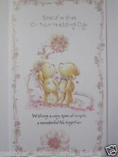 LOVELY GLITTER COATED FLOWERS & BEARS SPECIAL WISHES WEDDING DAY GREETING CARD