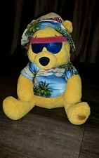 "12"" Disney Plush Winnie the Pooh Bear Beachwear Hat & Sunglasses Lightly Loved"