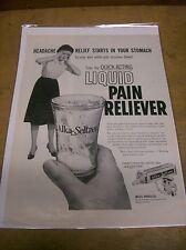 Original 1960 Alka-Seltzer Magazine Ad - Liquid Pain Reliever