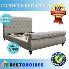 BRAND NEW QUEEN SIZE UPHOLSTERED BEIGE FABRIC BED FRAME BUTTON STUDDED LONDON