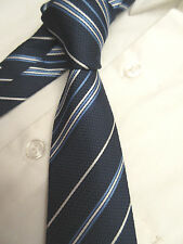 TAILOR & CUTTER BLUE STRIPED 2.75 INCH WIDE POLYESTER NECK TIE