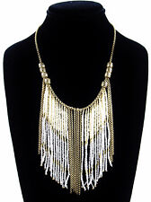 LUCKY BRAND Two-Tone Ivory-Color Seed Bead Fringe Necklace $55