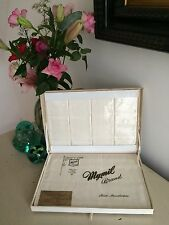 Vintage 1950s Boxed Tablecloth Napkins Irish Rayon Damask Wedding Gift High Tea