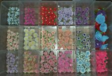 Huge Lot 340 Polymer Clay Flower Beads Large and Small Many Sizes and Colors 1A