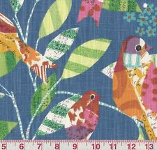 P Kaufmann Feathered Friends Bluebird Floral Bird Print Drapery Fabric BTY
