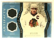JONATHAN TOEWS '11 UD ARTIFACTS TREASURED SWATCHES DUAL GAME USED JERSEYS#/135