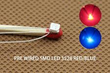 DT3528RB 20pcs Pre-soldered litz wired leads Bi-color RED/BLUE SMD Led 3528 NEW