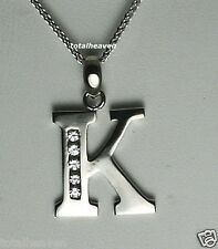 "Initial ""K"" 14K White Gold Pendant 7/8"" BIG 1.4g GORGES"