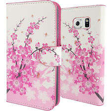 Cherry Blossom PU Leather Wallet Case for T-Mobile Samsung Galaxy S6 Card Cover