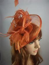 Rusty Orange Teardrop Sinamay & Feathers Hat Fascinator - Occasion Wedding Races