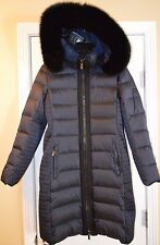 Diane von Furstenberg Navy Down Fill Coat with removable Fox Fur Hood, US Medium