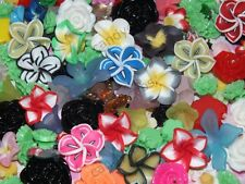 CandyCabsUK 20pcs Mixed Resin Clay Fimo Assorted flowers cabochon Craft DIY Kit
