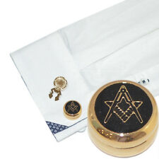 Gold Plated Masonic Cuff BUTTON COVERS Mason Lodge Cufflinks Present Gift Box