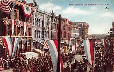 Cheyenne Wyoming~Frontier Day Parade~Soldiers on Horseback~Tents~Banners~1913 Pc