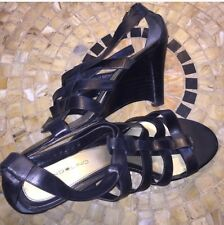 Black Bandolino Leather Strappy Sandal with Wedge Heels