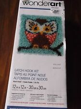 "WONDERART LATCH HOOK RUG PILLOW KIT HOOT OWL 12"" X 12"" NEW"