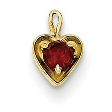 14K Yellow Gold Polished Birthstone Solid January Genuine Red Garnet Heart Charm