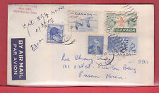 25 cen airmail rate to KOREA with receiver Canada cover 1958