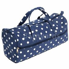 Knitting Bag, Storage Bag for Knitting Wool, Knitting Needles & Craft Navy Polka