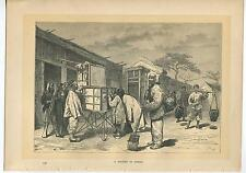 ANTIQUE STREET CITY OF PEKING BEIJING CHINA CHINESE MEN COSTUME FARMER ART PRINT