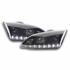 Ford Focus Mk2 (04-08) Black DRL Devil Angel Eyes Front Headlights Lights - Pair