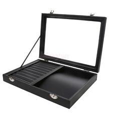 Black Leather Box for Necklace Ring Jewelry Retail Display Organizer #1