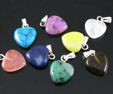 Wholesale 12pcs Lot Charms Heart Love Natural Stone Pendant MIX Color