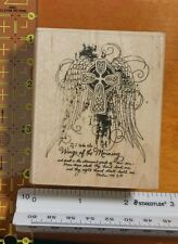 New STAMPENDOUS RUBBER STAMP cross wings of the morning angelic wood mounted