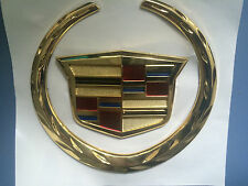 New Gold Plated Cadillac Escalade STS DTS XLR ATX XTS Grille trunk wreath Emblem