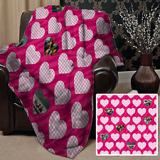 PERSONALISED PINK HEART PHOTO DESIGN FLEECE DESIGN SOFT FLEECE BLANKET COVER