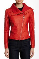 DOMA STUDDED MOTO BIKER LEATHER New JACKET Coat PASSION RED XL as L $650 CHIC