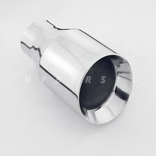 """2.5"""" Inlet 4 Inch Out 7"""" Long Angled Dual Wall Round Stainless Steel Exhaust Tip"""