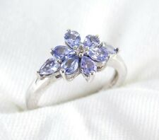Natural Blue Violet Tanzanite Ring 1.14ct 925 Sterling Silver Size 6 List $340