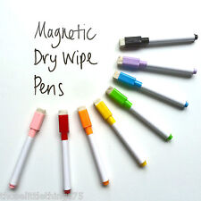 8 colour set magnetic white board marker pens, dry erase eraser, easy wipe