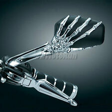 Chrome Motorcycle 3D Skull Claw Black Skeleton Rear View Mirrors 8mm 10mm Pair