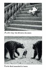 """EDWARD GOREY """"A FOR AMY, B FOR BASIL"""" LARGE 10""""x15"""" Wall Art Poster Book Page"""