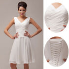 STOCK Ivory Chiffon Ball Cocktail Evening Prom Gown Party Short Bridesmaid Dress