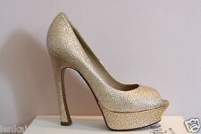 YSL Yves Saint Laurent Gold Peep Toe Palais Platform Pumps 40.5 10.5 $795