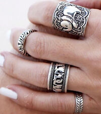 Hot 4PCS/Set Ladys Antique Silver Elephant Midi Mid knuckle Ring Vintage Rings