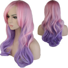 Hot Sale Black Red Purple Green Pink Ombre Two Tone Synthetic Hair Full Wig #gh