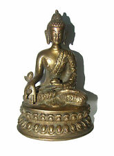 Old marvellous nicely ENGRAVED brass Statue MEDICINE HEALING BUDDHA from India