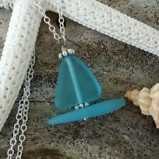 Sea glass sail boat necklace,Silterling silver chain.Gift box.Beach jewelry.