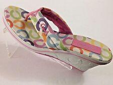 """Women's Coach """"Dalores"""" Multi-Color Logo Thong Slide Platform Wedge Shoes 8 M"""